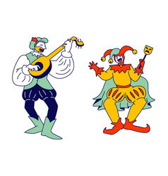 Medieval characters minstrel and buffoon isolated vector