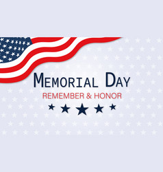 memorial day banner with usa flag vector image