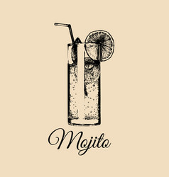 mojito glass isolated hand drawn sketch of vector image