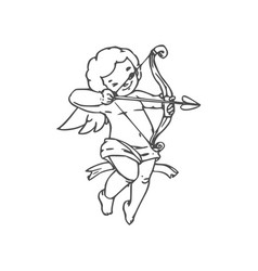 Naked boy cupid with arrow and bow vector