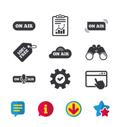 On air icons live stream signs microphone vector