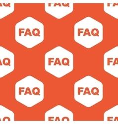 Orange hexagon FAQ pattern vector image