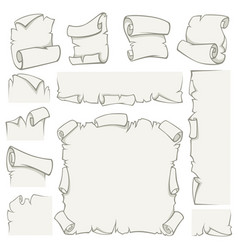 Paper scrolls of old papyrus sheets vector