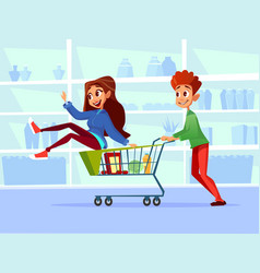 people with shopping carts cartoon vector image