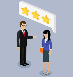 people work with star rating system colleagues vector image