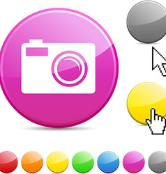 Photo glossy button vector image