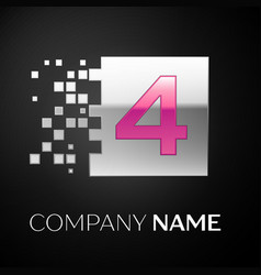 pink number four logo symbol in the silver square vector image