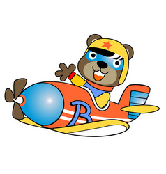 Plane cartoon with funny pilot vector