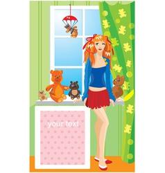Pretty girl with teddy bear toys vector image