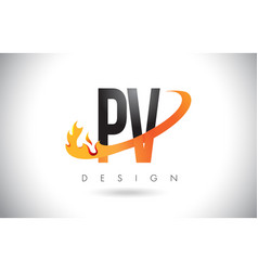 pv p v letter logo with fire flames design and vector image