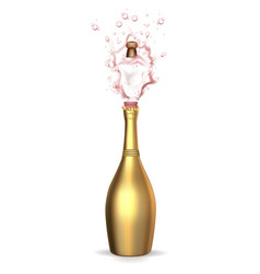 Realistic golden champagne explosion vector
