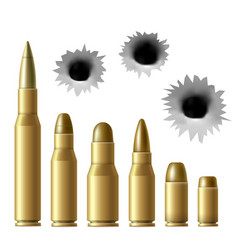 Realistic metal bullet and gunshot hole set vector