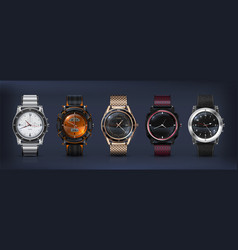 realistic wrist watches 3d classic and modern vector image