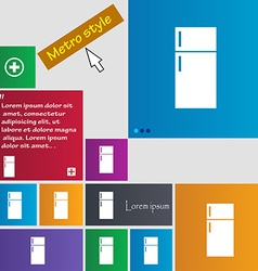 Refrigerator icon sign Metro style buttons Modern vector