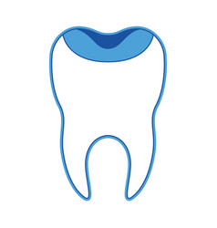 Restored tooth with root in blue silhouette vector