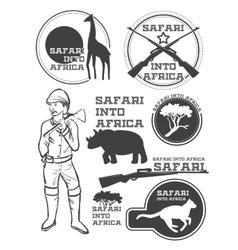 Safari in Africa Giraffe rhino cheetah and vector