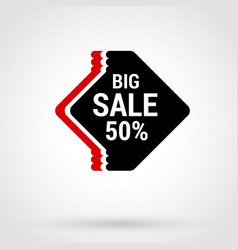 Sale sticker with hand drawn elements in red and vector