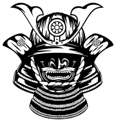 samurai helmet and menpo with yodare kake vector image