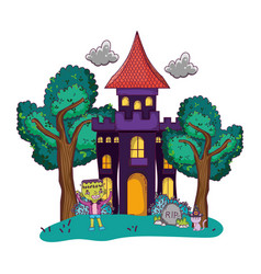 scary castle with boy frankenstein costume vector image