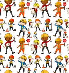 Seamless background with construction workers vector image