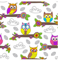 seamless pattern with funny owl on branch vector image