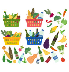 Set baskets full organic food and content vector
