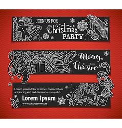 Set of black and white Christmas banners vector
