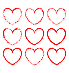Set of heart-shaped frames drawn in red ink vector