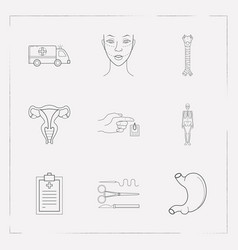 Set of organ icons line style symbols with vector