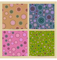 Set of square cards with seamless patterns with vector