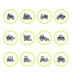 Set round icons of tractors vector