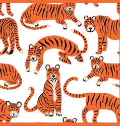 set with tigers to decorate design set vector image