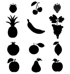 Silhouettes of frui vector
