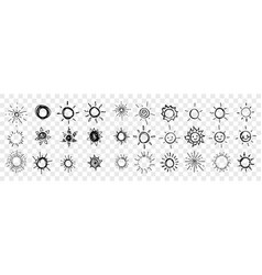 sketch hand drawn sun stars set collection vector image