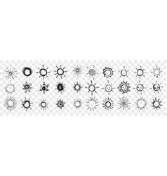Sketch hand drawn sun stars set collection vector