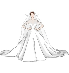 sketch magnificent wedding dress with red lips vector image