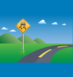 Slippery road sigh vector