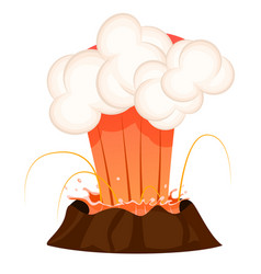 Strong jet of effluent hot lava white clouds vector