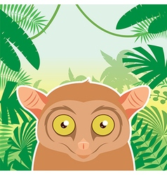 Tarsier on the Jungle Background vector