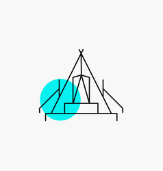 Tent camping camp campsite outdoor line icon vector