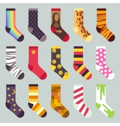 Textile colorful child warm socks set vector image