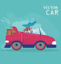 the girl drives the car flat style vector image