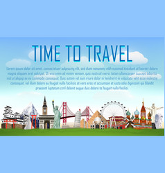 time to travel with world landmark vector image