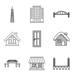 Urban edifice icons set outline style vector
