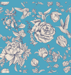 vintage pattern with roses and peonies vector image