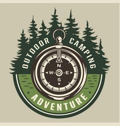Vintage summer adventure round emblem vector