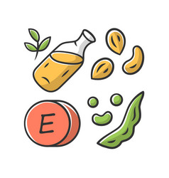 vitamin e color icon peanuts peas and beans seed vector image