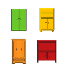 wardrobe icon set color outline style vector image
