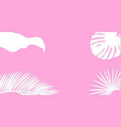 White palm leaves silhouette on a pink background vector