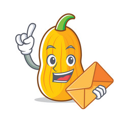 With envelope butternut squash character cartoon vector